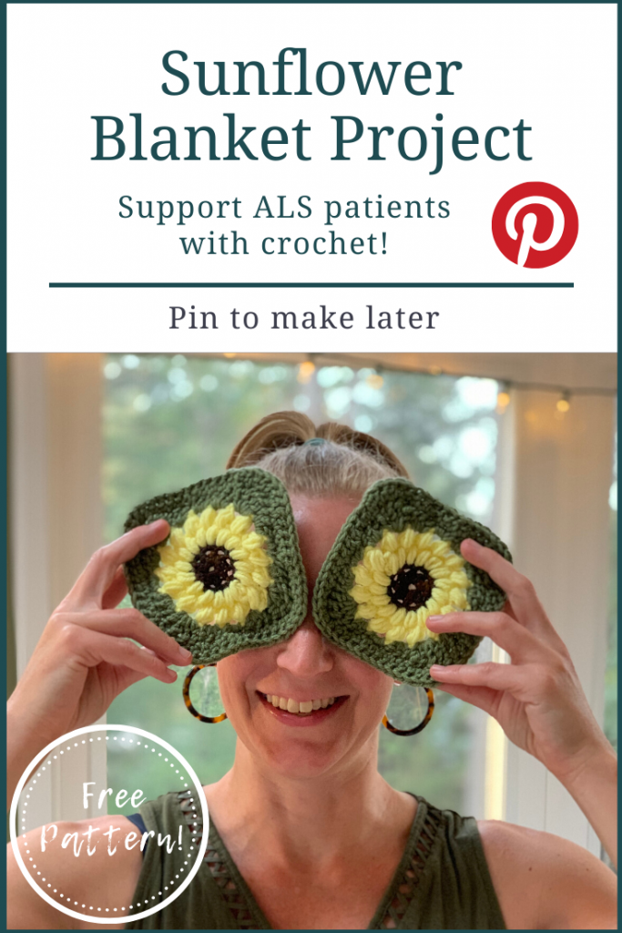 Pinterest pin for the Sunflower Blanket Project showing a goofy woman holding up two granny squares like eyes
